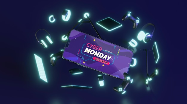 Cyber monday sale assortment with mobile phone mock-up
