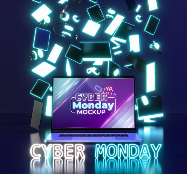Assortimento di vendita di cyber lunedì con nuovo modello di laptop