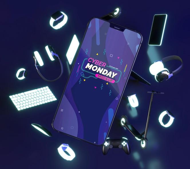 휴대 전화 모형으로 사이버 월요일 판매 구성