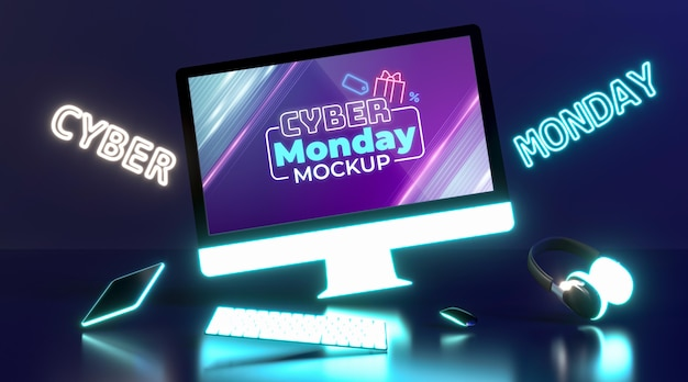 Cyber monday sale mock-up with futuristic composition
