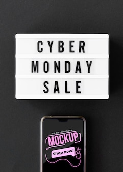 Cyber monday sale promo with phone mock-up