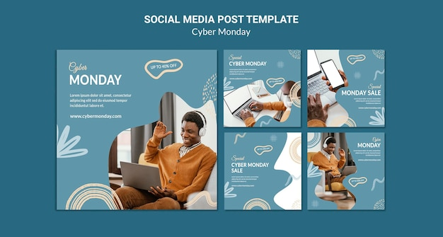 Cyber monday social media posts pack