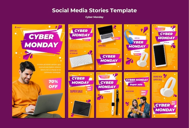 Cyber monday social media stories template