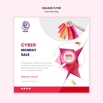 Cyber monday square flyer template