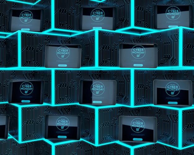 Cyber monday tablets set on neon shelves