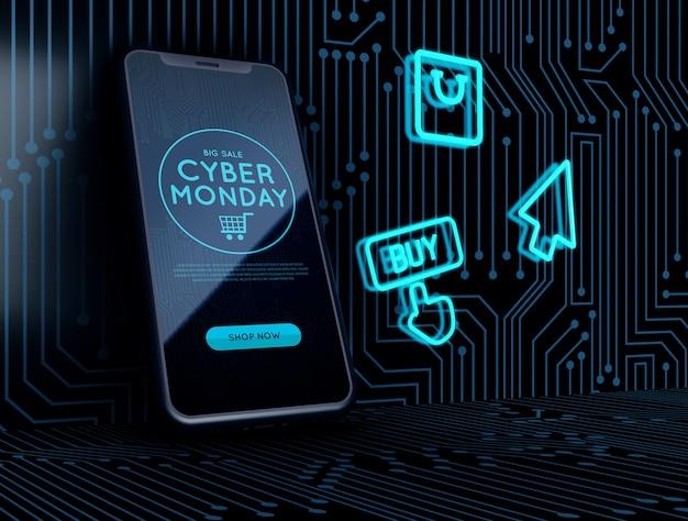 Неоновые вывески рядом с телефоном cyber monday