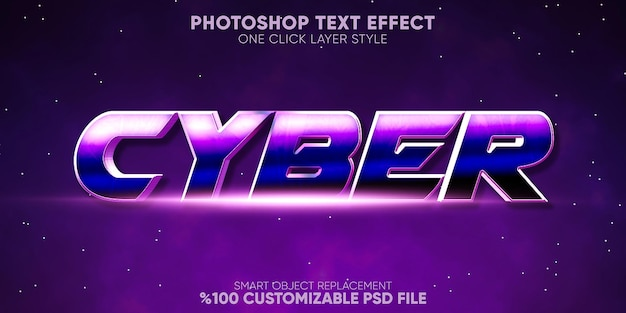 Cyber text effect gaming and display text style template