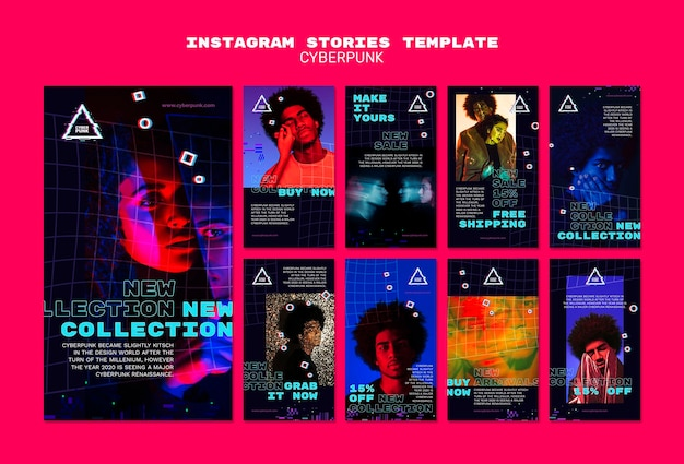 Cyberpunk futuristic social media stories