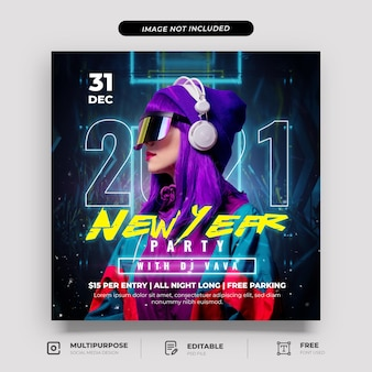 Cyberpunk new year party social media post template