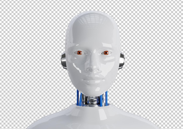 Лицо киборга гуманоидной женщины покрыто изолированной светоотражающей