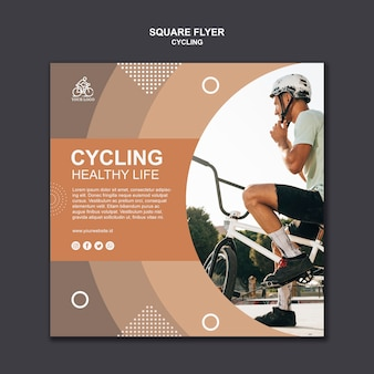 Cycling healthy life square flyer