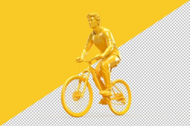 Cyclist riding a bicycle in 3d rendering
