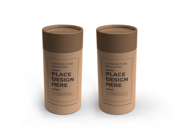 Cylinder tube packaging mockup design