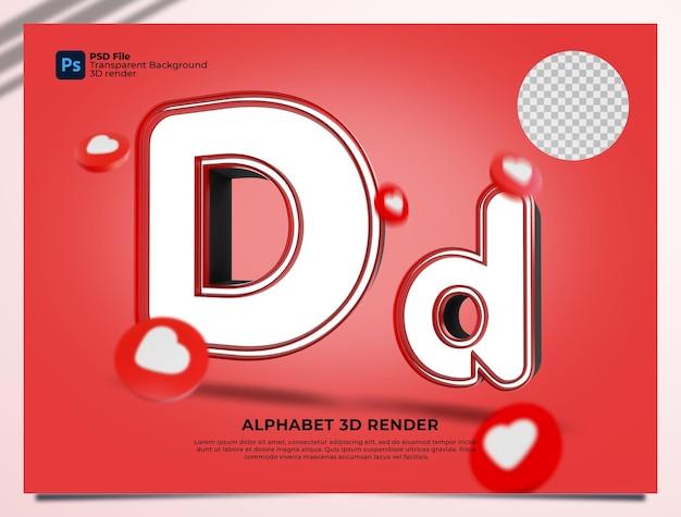 D 알파벳 3d 렌더링 요소와 붉은 색