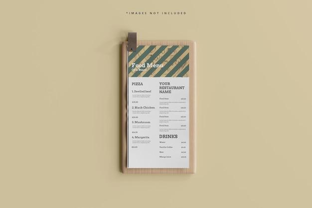 D меню еды на макете деревянной доски