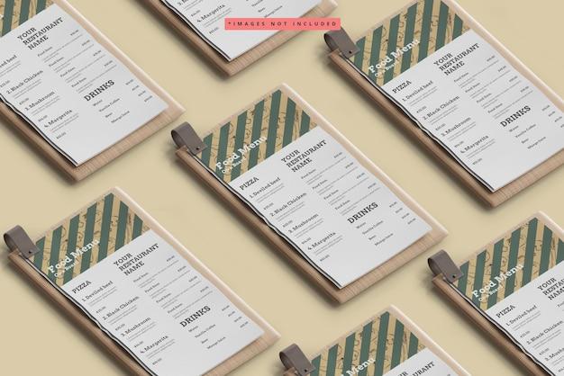 D food menu on a wooden board mockup