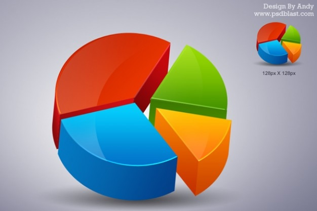 D pie chart icon psd