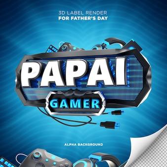 Dad gamer banner in brazil 3d render design