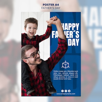 Dad and son father's day poster template