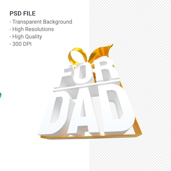 For dad with bow and ribbon 3d rendering isolated