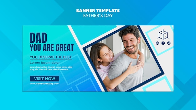 Dad you are great father's day banner template