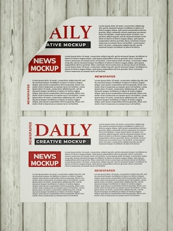 Daily newspaper mockup template on the wall