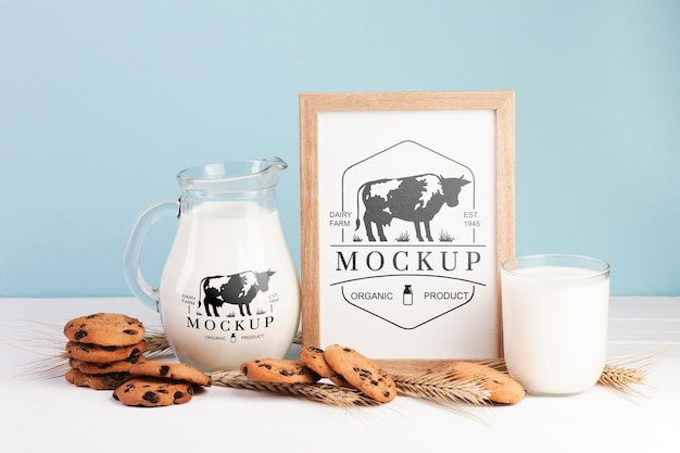 Dairy mock-up with milk and cookies