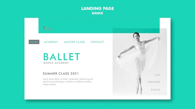 Dance academy landing page template