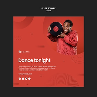 Dance concept square flyer design