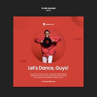 Volantino quadrato concetto di danza Psd Gratuite