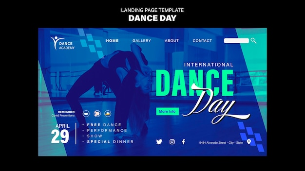 ダンスデーのランディングページテンプレート Premium Psd