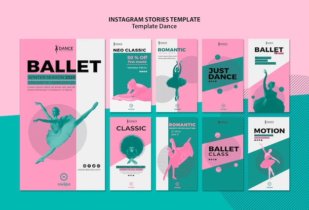 Dance instagram stories template collection