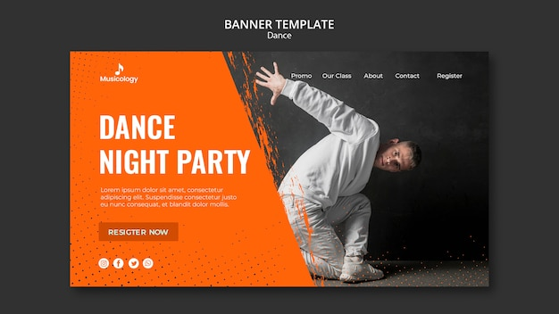 Dance night party musicology banner template
