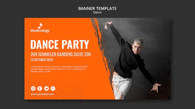 Dance party musicology banner template