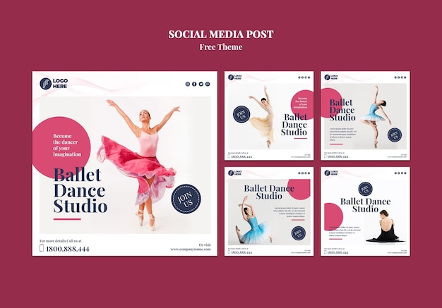Modello di post sui social media di studio di danza