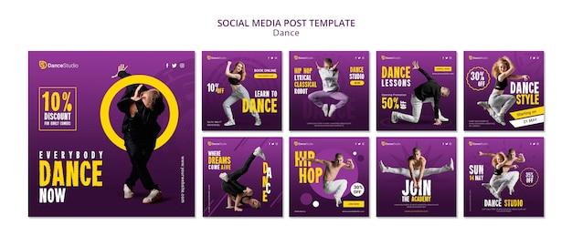 Шаблон сообщения в социальных сетях dance