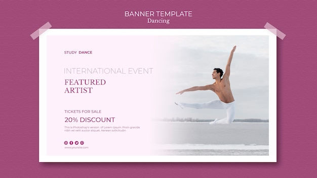 Dancing school banner template featured artist