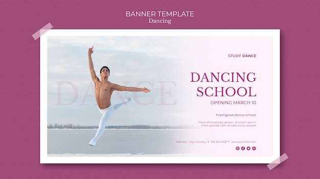 Dancing school banner template and man dancing