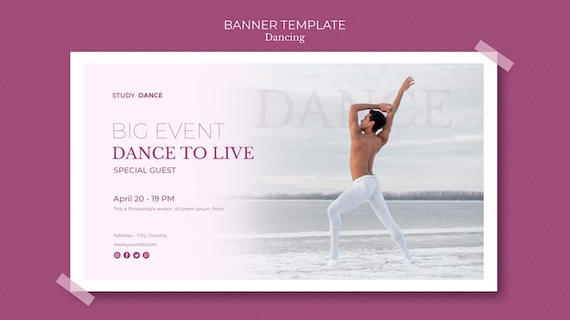 Dancing school banner template man at the sea