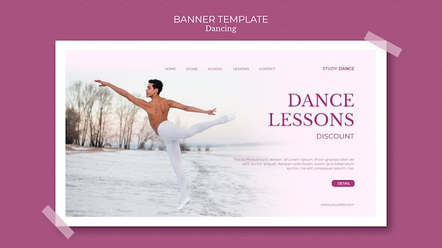 Dancing school banner template man at the seashore