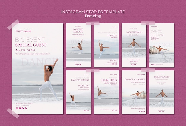 Шаблон истории instagram школы танцев