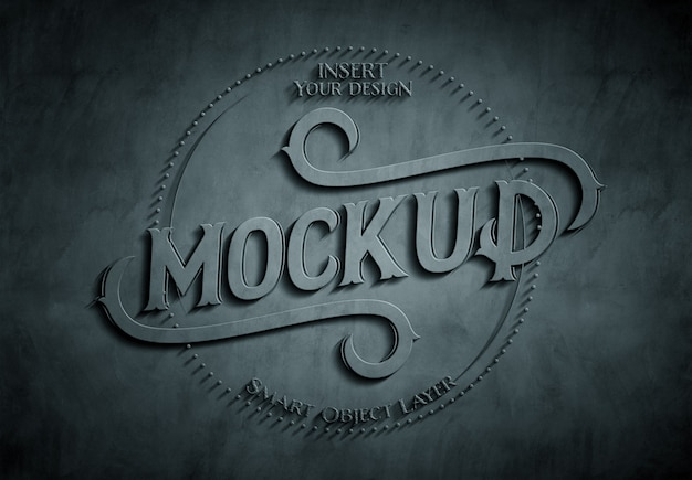 Dark 3d embossed concrete text effect mockup