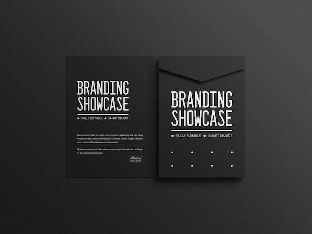 Dark a4 stationery with letterhead mockup
