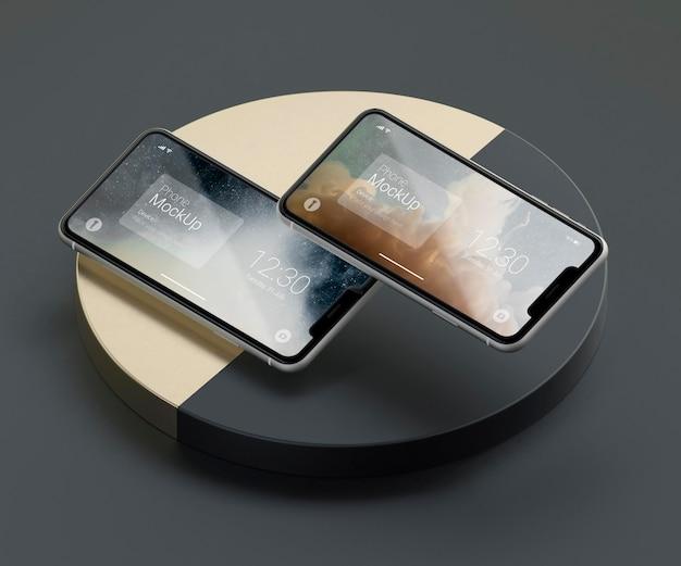 Темный и медный макет телефона с левитацией