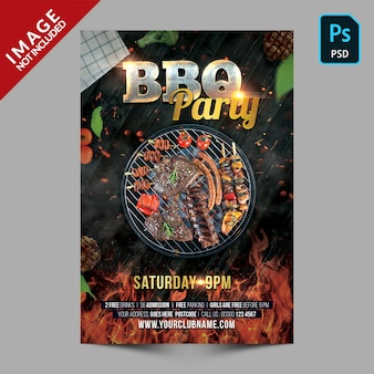 Dark bbq party poster template flyer