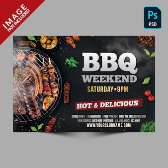 Dark bbq weekend template horizontal flyer