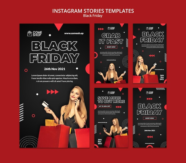 Dark black friday social media stories set