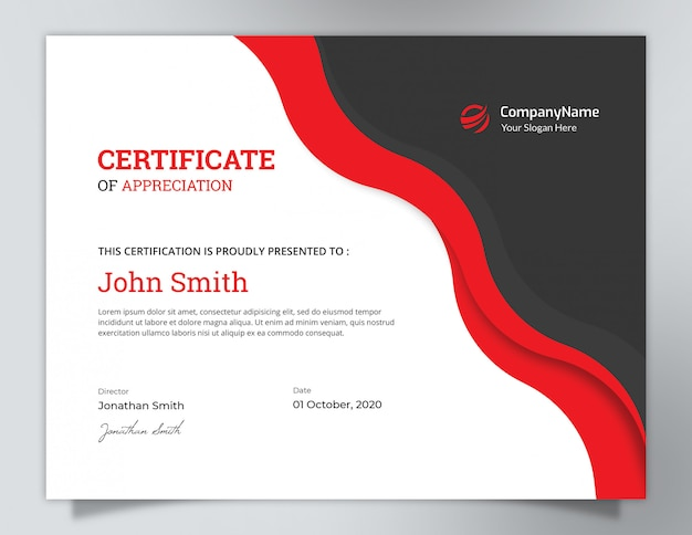 Dark black & red waves certificate design