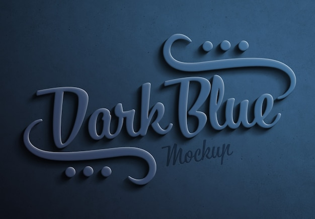 Dark blue 3d text effect with shadow mockup