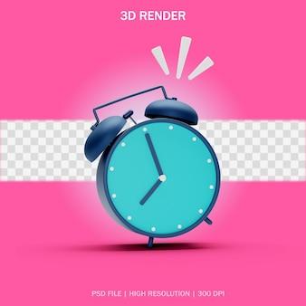 투명한 배경의 3d 디자인에서 울리는 포즈가 있는 진한 파란색 알람 시계 전면 보기